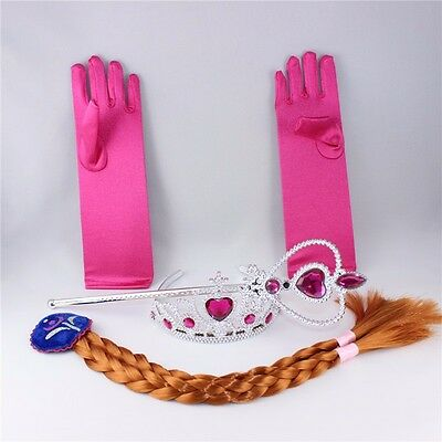 Princess Crown Costume (Frozen Princess Elsa Anna Costume Cosplay  Crown Wand Braid Wig Gloves for)