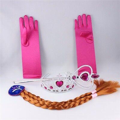 Frozen Princess Elsa Anna Costume Cosplay  Crown Wand Braid Wig Gloves for Girls - Elsa Gloves Frozen