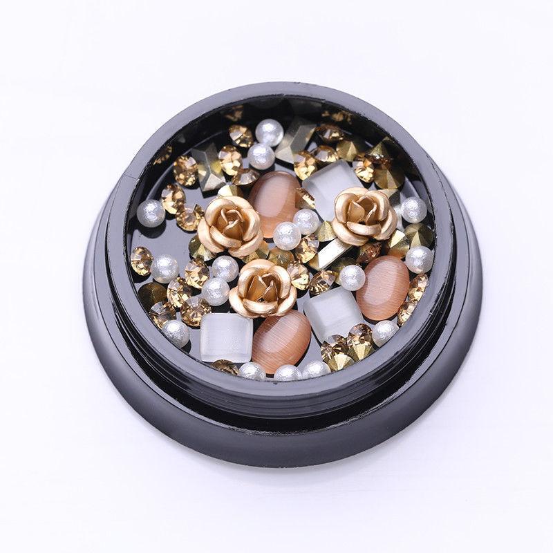 1Box Gold Rose Beads