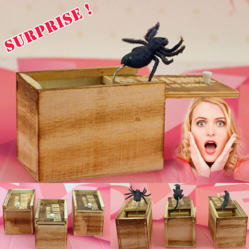 SPIDER ATTACK Home//Office Joke Scare Box Prank Fun Wooden Xmas Gift NEW