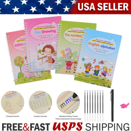 Handwriting Copybook Reused Writing Practice Book Groove Copybook for Kids NEW