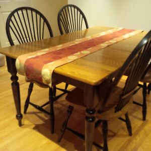 Oak Birch Dining Table And 6 Chairs