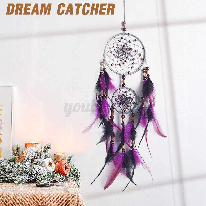 Handmade Feather Dream Catcher Knitted Indian Dreamcatcher Wall Hanging Decor us