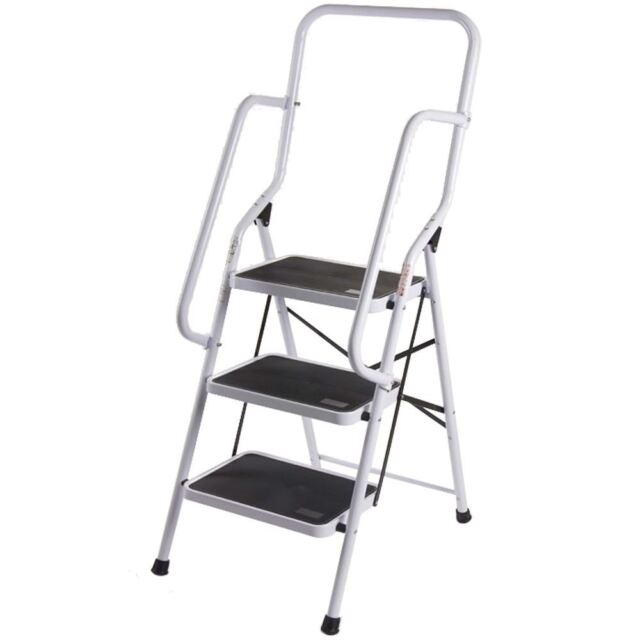 3 Step Ladder Handrail Non Slip Safety Tread Foldable Rail