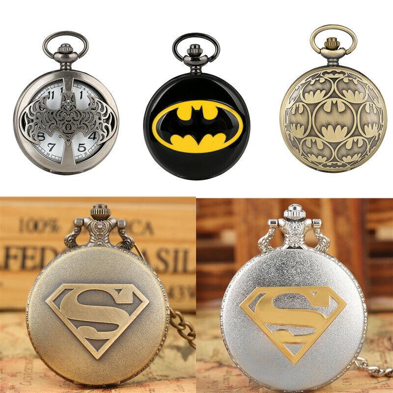 Classic Comic Superman/Batman Quartz Pocket Watch Gift For Men Women Necklace