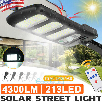 4300LM 213LED Outdoor Solar Street Wall Light Sensor PIR Motion LED Lamp+Remote