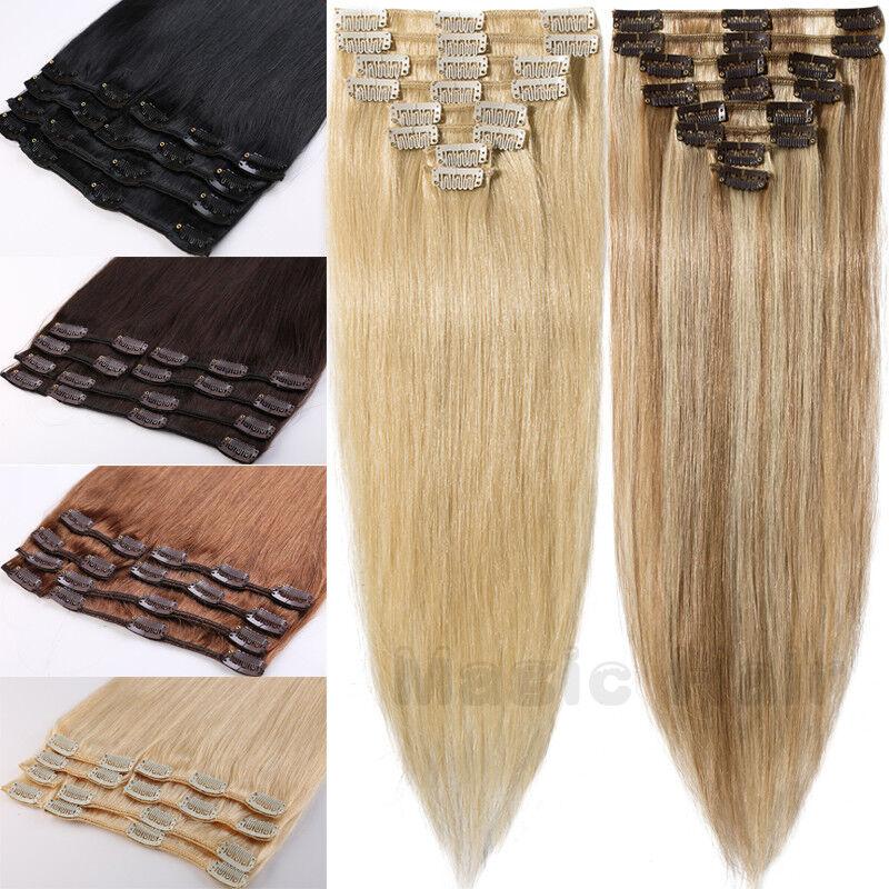 8 Haarteile Remy indisches Echthaar Clip In Human Hair Extensions mit 18Clips DE