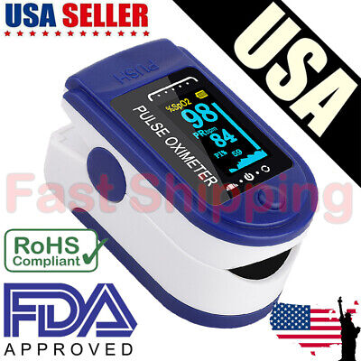 Finger Pulse Oximeter Blood Oxygen Spo2 Monitor Pr Pi Respiratory Rate Ce Usa