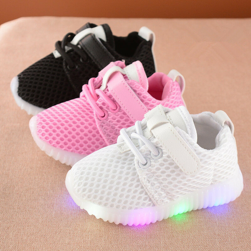 11.5, Black Children Shoes LED Light Kids Shoes with light Baby Boys Girls Lighting Sneakers Casual Children Sneakers