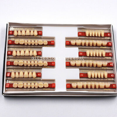 84 Pcs 3 Set Acrylic Resin Denture Teeth Vita Color A2 Upper Lower Shade Dental