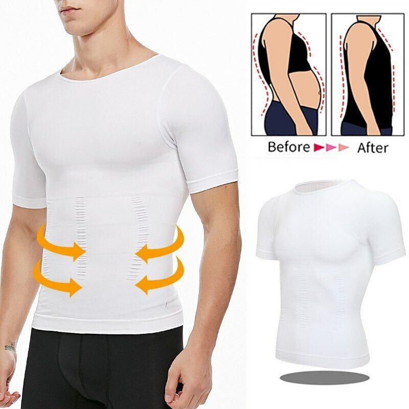 Herren Kompressionsshirt Figurformende Bauchweg Unterhemd Mieder Slim TankTop