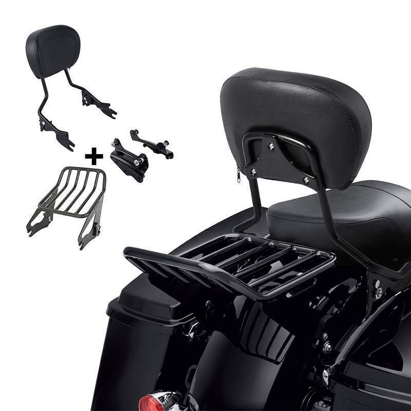 TCMT Detachable Passenger Backrest Sissy Bar With 4 Point Docking Hardware Kits Fits For Harley Touring Models 2014-2019 Black, Style A
