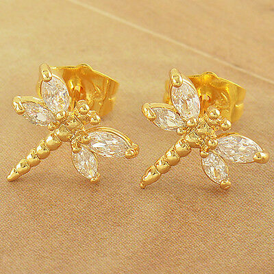 Child Girls kids Gold filled safety Hoop earrings Dragonfly crystal earings