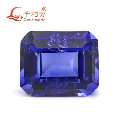 Emerald cut Synthetic sapphire loose stone 33# Corundum with visible inclusions