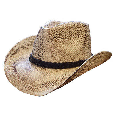 UNISEX VINTAGE  STRAW COWBOY HAT ( ONE SIZE ) ,FREE fast post