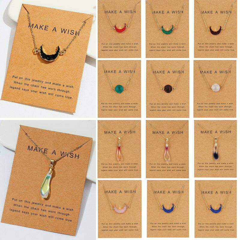 Jewellery - Natural Stone Moon Waterdrop Pendant Necklace Choker Chain Card Women Jewelry