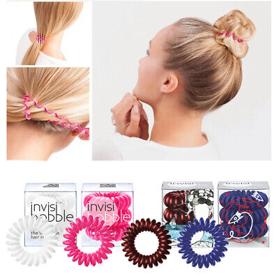 Pack of 3 Original Invisibobble Spiral Traceless Hair Tie and Bracelet Scrunchie