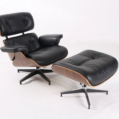 HIGH-END 100% Italian Leather Lounge Chair & Ottoman Mid-Century Walnut Black
