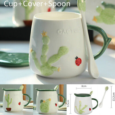 Unique Coffee Cup Green Cactus Embossed Pattern Ceramic Mug with Cover Spoon
