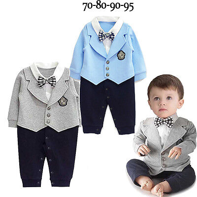 Infant Baby Boy Party Gentleman Clothes Romper Jumpsuit Bodysuit Formal Outfit](Party Boy Outfit)