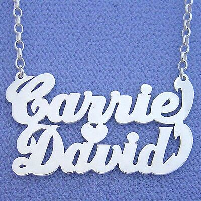 Sterling Silver Couples Name Heart Pendant (Sterling Silver Couple Name Necklace Two Names w/ Heart)