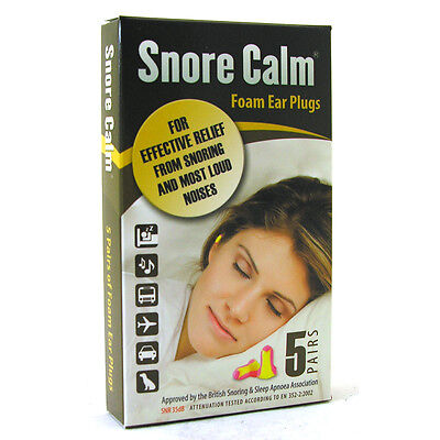Snore Calm Foam Ear Plugs 5 PAIRS ()