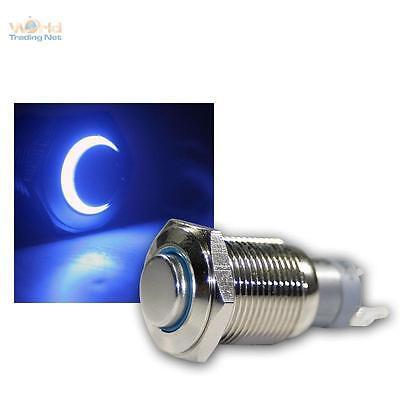 Druckschalter Metall, max. 230V/3A, Schalter mit LED Beleuchtung-Ring Blau