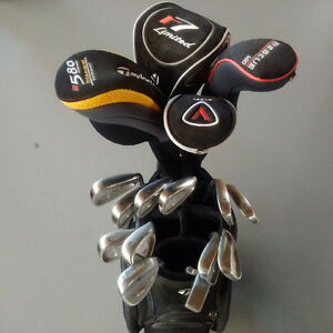 Complete set of Taylor Made Golf clubs (right h) plus...