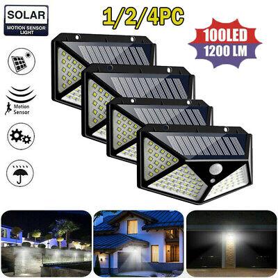 100 LED Solar Power PIR Motion Sensor Wall Lights Outdoor Garden Lamp Waterproof 100 Outdoor Garden