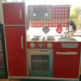 Childrens Red Wooden Kitchen