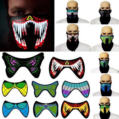 LED Luminous Flashing Face Mask Party Masks Light Up Dance Halloween Cosplay USA