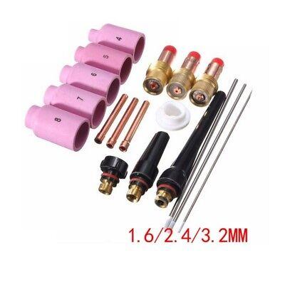 Tig Welding Torch Consumables Tungsten Alumina Nozzle Lens For Wp171826 18pcs
