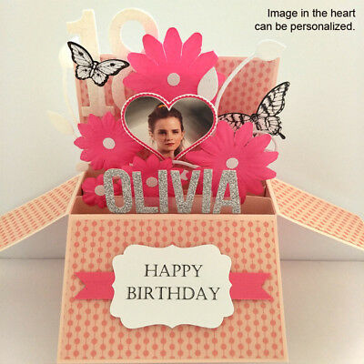 Handmade birthday card girlfriend, daughter / Name, Age & Photo Personalised