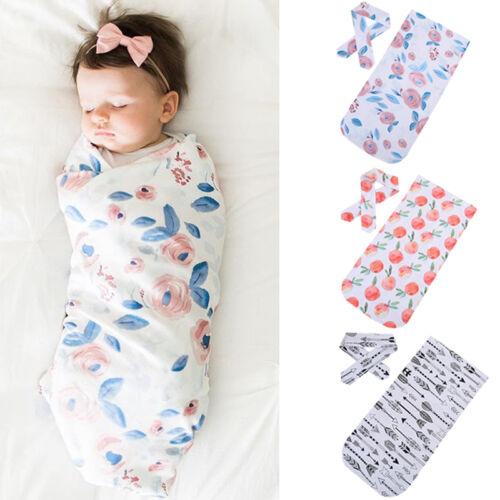 US Newborn Baby Girl Floral Swaddle Blanket Sleeping Wrap Wi