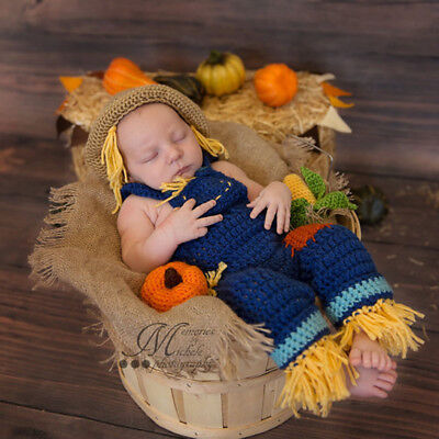 Baby Girls Boys Scarecrow Crochet Knit Costume Photo Photography Prop Outfits