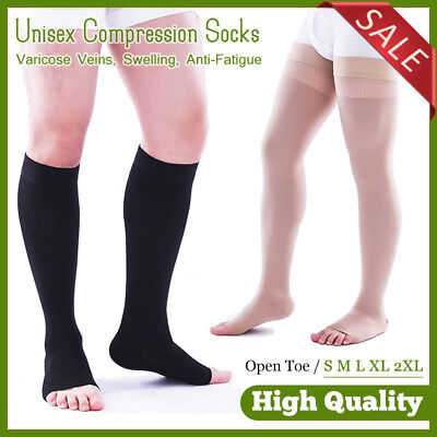 Knee Open Toe Support Stockings - Men Women Compression Socks Knee High Support Stockings Thigh Varicose Open Toe