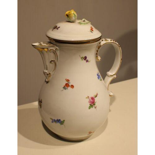 Antique 19th Original Rare Germany Coffee maker Meissen flowers Porcelain 25cm