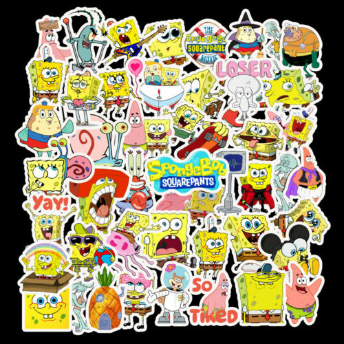 50Pcs SpongeBob Stickers Vinyl Decals for Laptop Water Bottle Skateboard