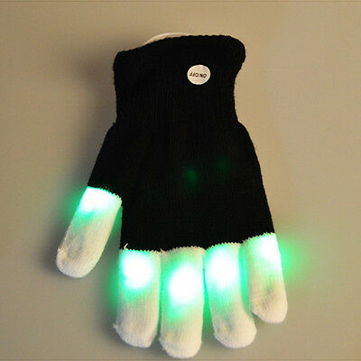 Fashion LED Rave Flashing Gloves Glow 7 Mode Light Up Finger Light Black White