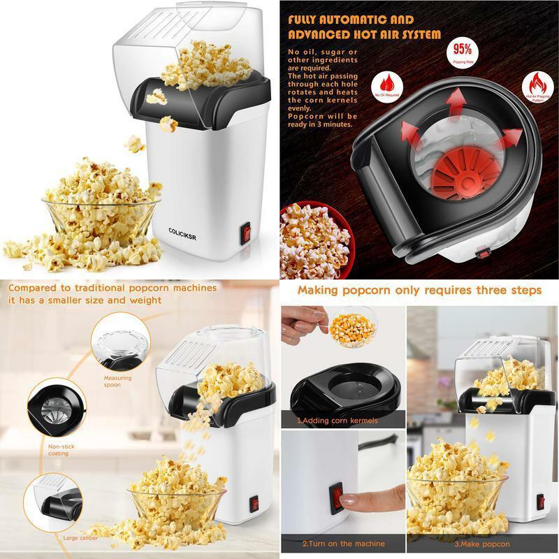 Coliciksr Hot Air Popcorn Maker,Popcorn Machine With Wide Mo