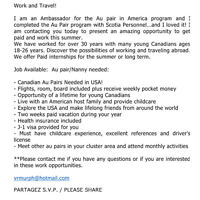 Au Pair wanted!!!