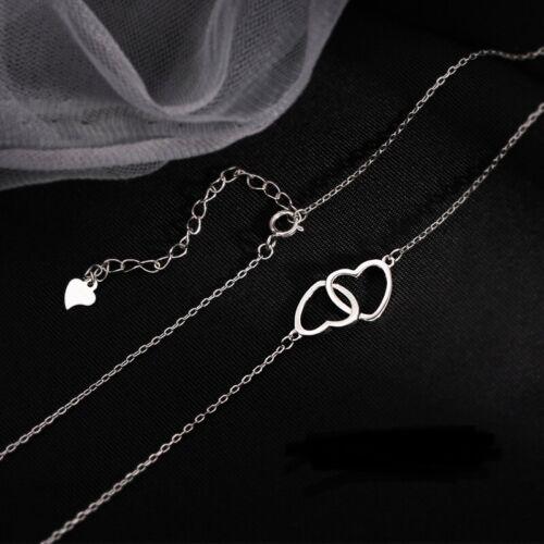 Jewellery - 925 Silver Double Heart Love Drop Necklace Women's Jewellery Gift