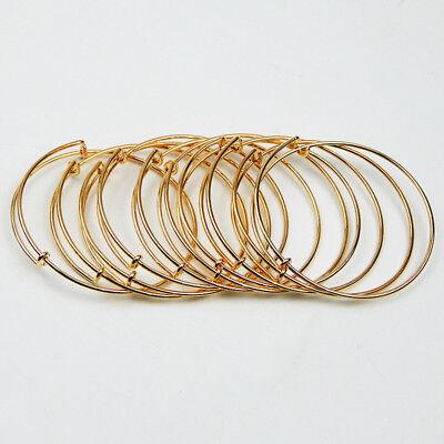 Neu! Menge 10pcs Erweiterbar Gold Armreif Armband Draht Umwickelt Verstellbares