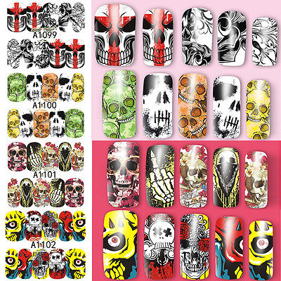 Nail Art Water Decal Skull Design  Transfer Stickers Tips DIY - Halloween Nail Design