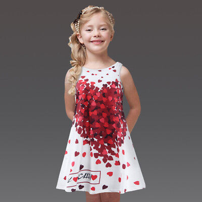 Kids Red Dresses (New Childrens Girls White Sundress Valentines Day Red Heart Casual Dress)