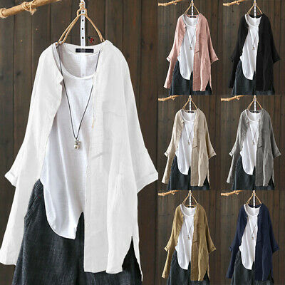 Damen Mode Retro Dünner Leinenhemd Lässig Hemdjacke Mantel Coat Strickjacke Tops