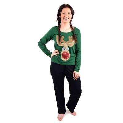 Ladies Christmas Xmas Pyjama Set Night Wear PJ's - Green With reindeer, UK 14  - Green Christmas Pyjama