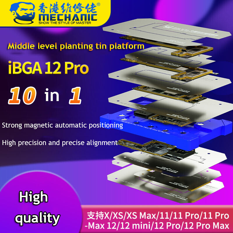 Mechanic IBGA 10In1 BGA Reballing Stencil Platform for IPhone X-12 Pro Max Tool