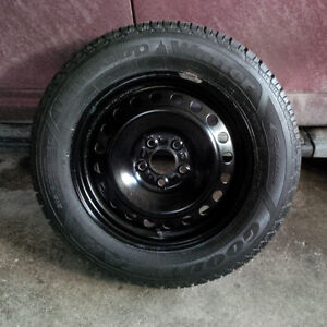 AS NEW 215 60 16 Goodyear Snows w TPMS on 5x114.3 Rims. NICE