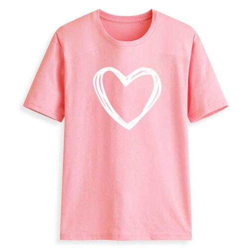 Women Ladies Summer Short Sleeve  Tees T Shirt Tops Blouse Heart Printed Casual